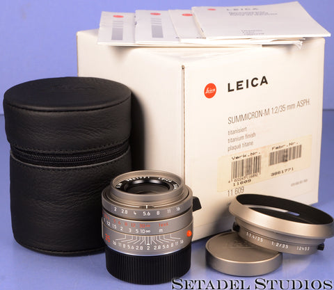 LEICA LEITZ 35MM SUMMICRON-M F2 ASPH 11609 TITANIUM LENS +BOX +SHADE +CAPS MINT