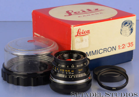 LEICA 35MM SUMMICRON F2 1ST V BLACK PAINT 8 ELEMENT GERMAN LENS 11008 RARE LATE#
