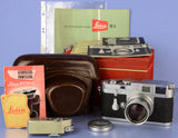LEICA M3 CORNER CHROME RANGEFINDER CAMERA +50MM SUMMICRON F2 700502 +EXTRAS WOW!