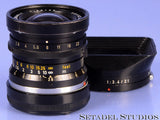 LEICA LEITZ 28MM ELMARIT F2.8 2ND VER. FOCUS LOCK! BLACK M 11801 LENS +SHADE