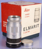 LEICA LEITZ 90MM ELMARIT F2.8 M 11129 CHROME M LENS +BOX +CAPS VERY CLEAN NICE