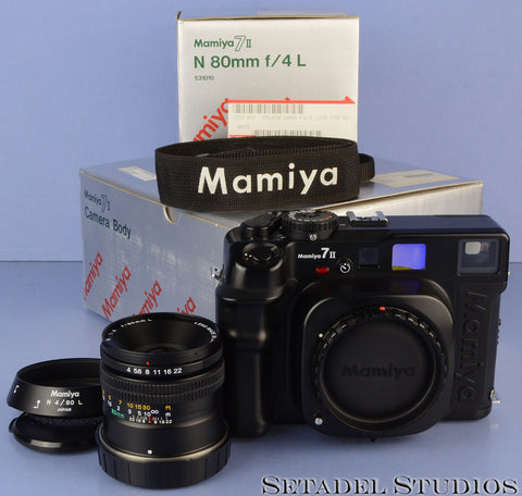 MAMIYA 7 II 7II FILM CAMERA +80MM F4 L LENS +BOX +SHADE +STRAP +CAPS VERY CLEAN!