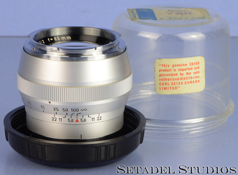 CONTAREX ZEISS SONNAR 85MM F2 SILVER CHROME CAMERA LENS +MATCHING # CONTAINER