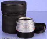 LEICA 35MM SUMMICRON-M 6BIT F2 11882 ASPH CHROME M LENS +CAP +SHADE +CASE MINT