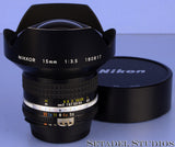 NIKON NIKKOR 15MM F3.5 AI-S RECTILINEAR ULTRA WIDE LENS +CAPS +FILTER VERY NICE!
