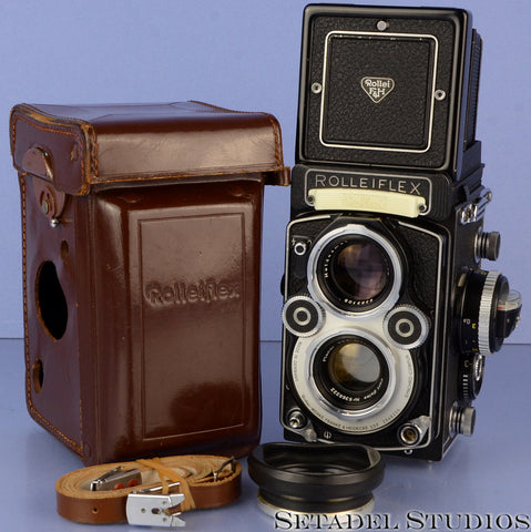 ROLLEI ROLLEIFLEX 3.5F PLANAR WHITE FACE 12/24 CAMERA +CASE +SHADE +STRAP MINT!
