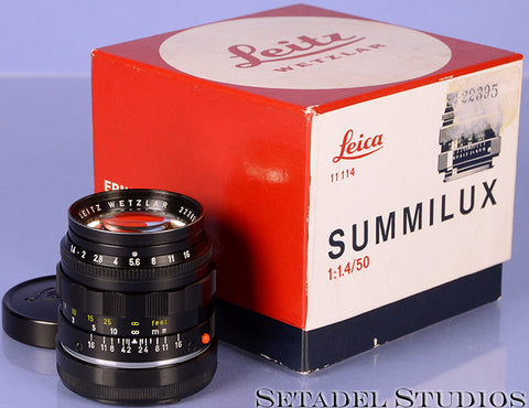 Leica Leitz 50mm 11117 Summilux 2nd V F1.4 Black Paint M Lens Rare w/ Caps +Box