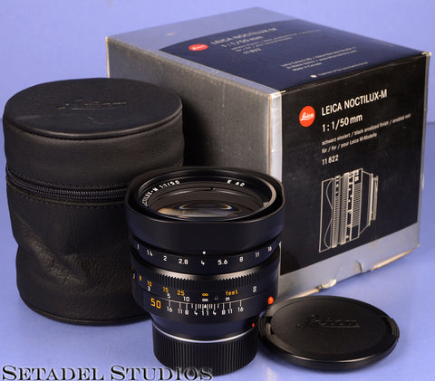 LEICA LEITZ 50MM NOCTILUX-M F1 BLACK 11822 4TH VER E60 LENS +BOX +CAPS LATE #
