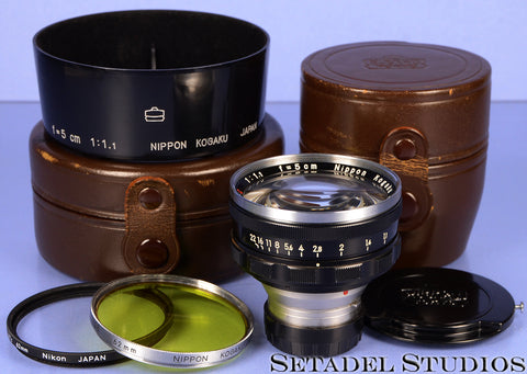 NIKON 50MM NIKKOR-N.C F1.1 INTERNAL M RANGEFINDER LENS + RARE CASES +CAPS +SHADE