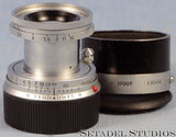 LEICA LEITZ 50MM ELMAR F2.8 11612 COLLAPSIBLE CHROME M LENS W/ ITOOY SHADE +CAPS