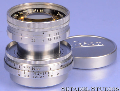 LEICA LEITZ 50MM SUMMICRON F2 LANTHAR CHROME COLLAPSIBLE SM LTM LENS +CAPS NICE