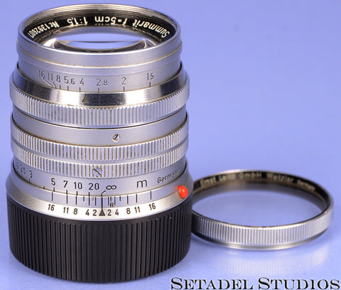 LEICA LEITZ 50MM SUMMARIT F1.5 11120 CHROME M LENS +UVA FILTER +CAP CLEAN NICE