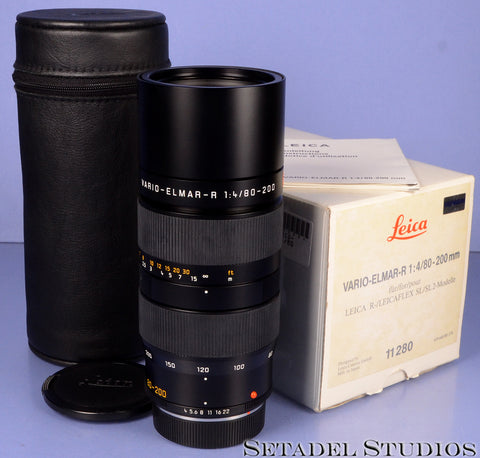 LEICA LEITZ 80-200MM VARIO-ELMAR-R F4 R 11280 BLACK LENS +BOX +CAPS +PAPERS