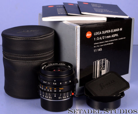 LEICA LEITZ 21MM SUPER-ELMAR-M F3.4 11145 BLACK 6BIT ASPH LENS +BOX +CAPS +SHADE
