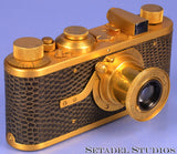 LEICA LEITZ I MODEL A LUXUS GOLD CAMERA +50MM ELMAR LENS +CAP RARE NICE! CLA'ed!
