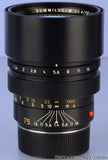 LEICA LEITZ 75MM SUMMILUX-M 11810 F1.4 M BLACK LENS GERMAN +CAPS +CASE RARE!