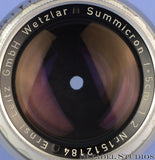 LEICA LEITZ 50MM SUMMICRON F2 CHROME 11118 RIGID M LENS VERSION 1 CLEAN NICE