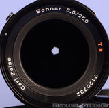HASSELBLAD ZEISS 250MM SONNAR F5.6 CF T* BLACK LENS W/ CAPS NICE!