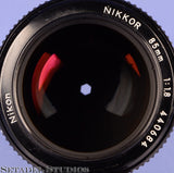 Nikon Nikkor 85mm F1.8 AI F Black Lens with Caps Clean