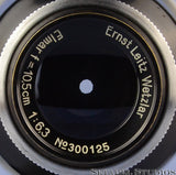 LEICA LEITZ 105MM MOUNTAIN ELMAR F6.3 BLACK SM LENS +SHADE +CAPS CLEAN NICE