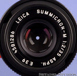 LEICA 35MM SUMMICRON-M F2 ASPH 6BIT BLACK-CHROME LTD 11689 M LENS +SHADE +CAPS