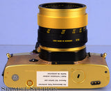 LEICA LEITZ R4 24KT GOLD CAMERA OUTFIT+50MM SUMMILUX-R F1.4 LENS +CASE +STRAP