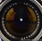 LEICA LEITZ 11870 SUMMILUX 35MM F1.4 STEEL RIM BLACK PAINT M LENS +CAPS RARE