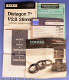 CONTAX C/Y RTS 28MM DISTAGON F2.8 T* LENS +BOX +PAPERS. MINT! + HOOD STEP RING+