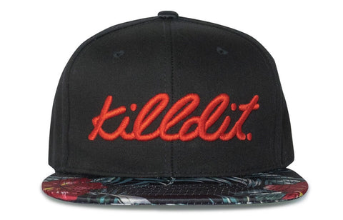Floral Snapback Red