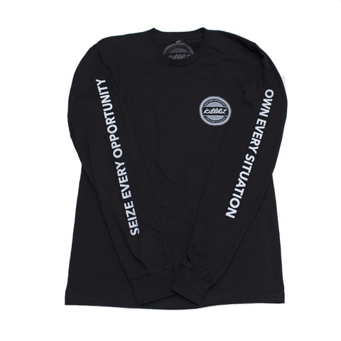 Globe Long Sleeve Tee Black/White