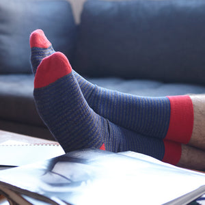 Men's Socks | Blue/Grey Striped Serious Socks | Pengallan