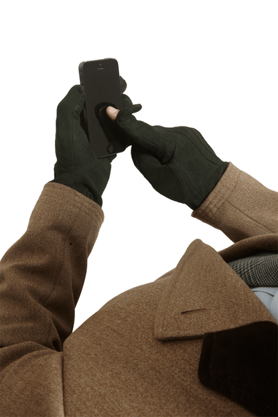 Men's Leather Gloves | Hunter Green Suede Italian Leather Genius Gloves | Pengallan