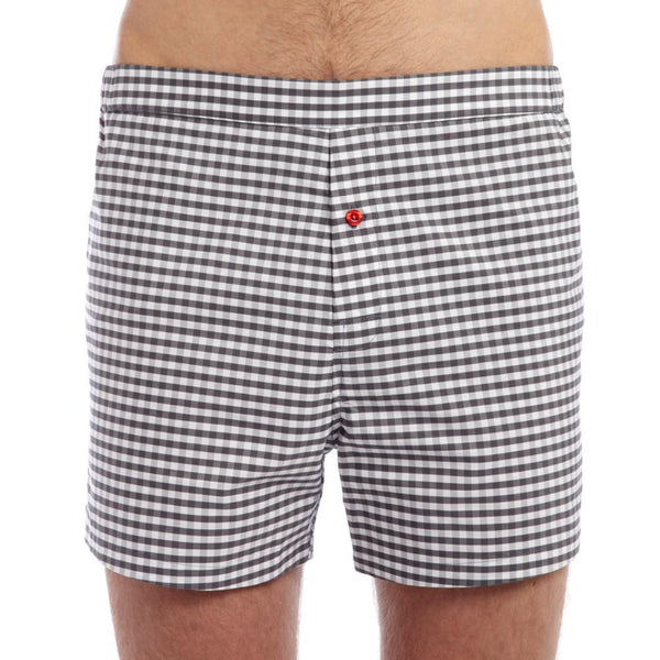 Men's Designer Underwear | Slim-Fit Boxers Grey Gingham | Pengallan