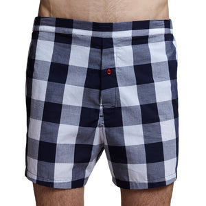 Men's Designer Underwear | Slim-Fit Boxers Navy Buffalo Plaid | Pengallan