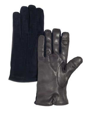 Men's Leather Gloves | Navy/Grey Seude Italian Leather Genius Gloves | Pengallan