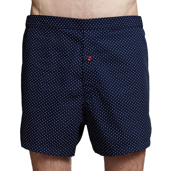 Men's Designer Underwear | Slim-Fit Boxers Navy Polka Dot | Pengallan