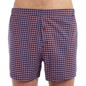 Men's Designer Underwear | Slim-Fit Boxers Navy-Red Plaid | Pengallan