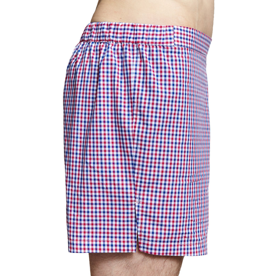 Men's Designer Underwear | Slim-Fit Boxers Red/White/Blue Check | Pengallan