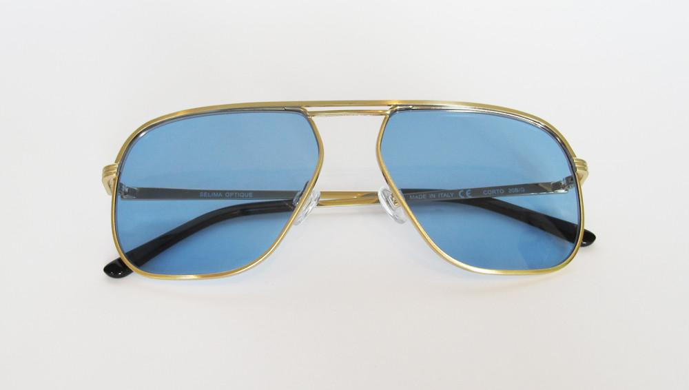 Men's Designer Eyewear | Selima Optique Corto Sunglasses | Gold/Blue | Pengallan