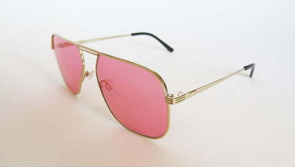 Men's Designer Eyewear | Selima Optique Corto Sunglasses | Gold/Pink | Pengallan
