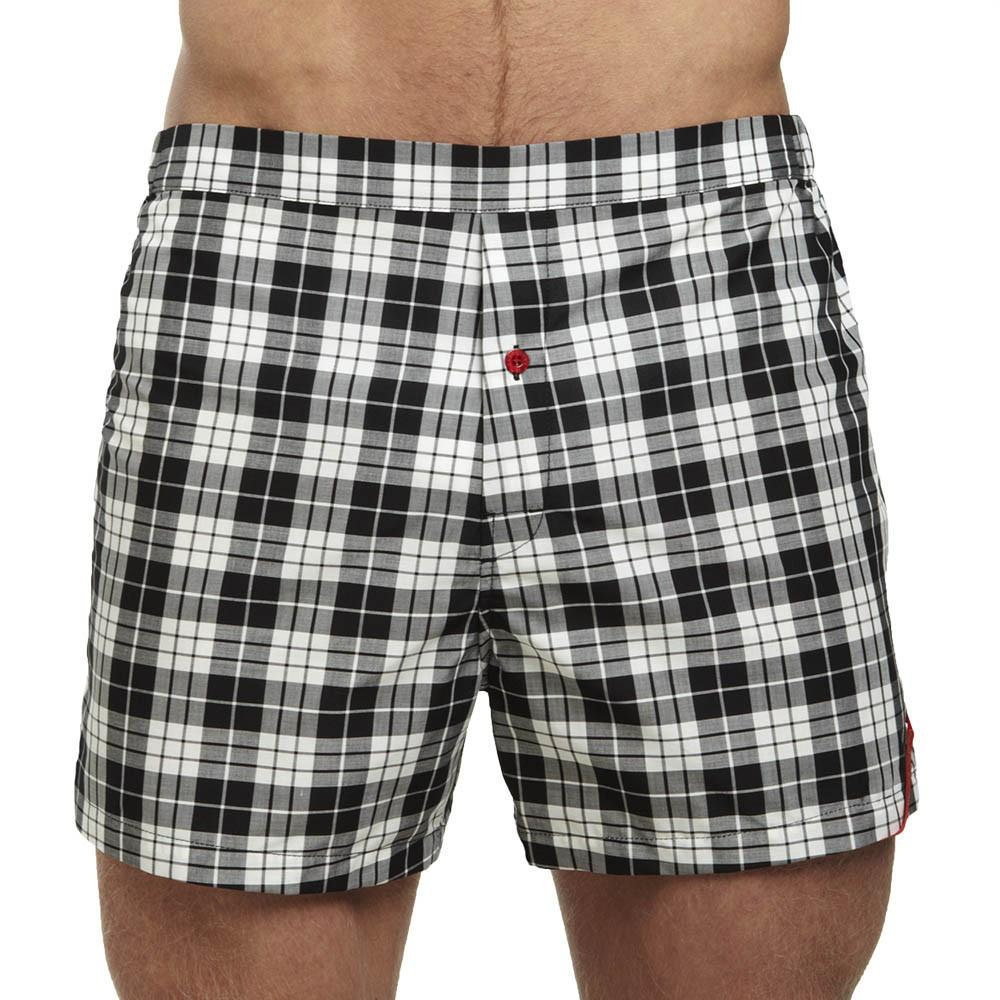 Men's Designer Underwear | Slim-Fit Boxers Black/White Plaid | Pengallan