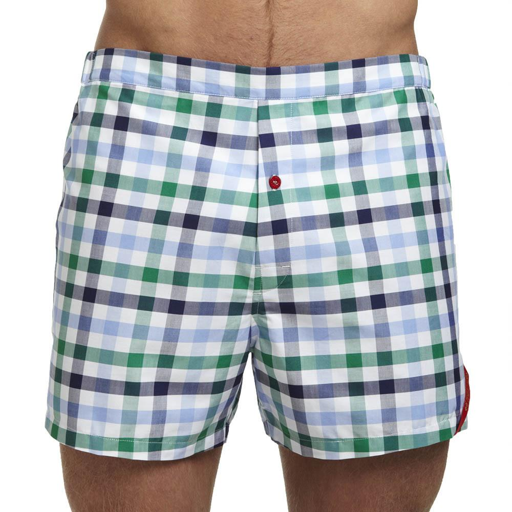 Men's Designer Underwear | Slim-Fit Boxers Green-Blue Check | Pengallan