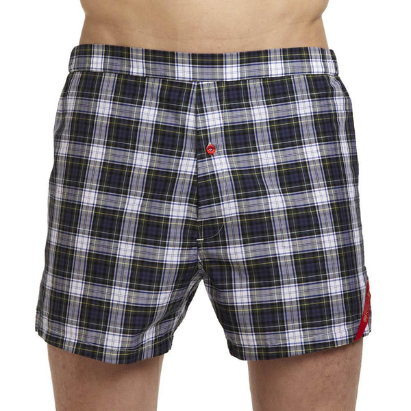 Men's Designer Underwear | Slim-Fit Boxers Blue/Green Tartan Plaid | Pengallan