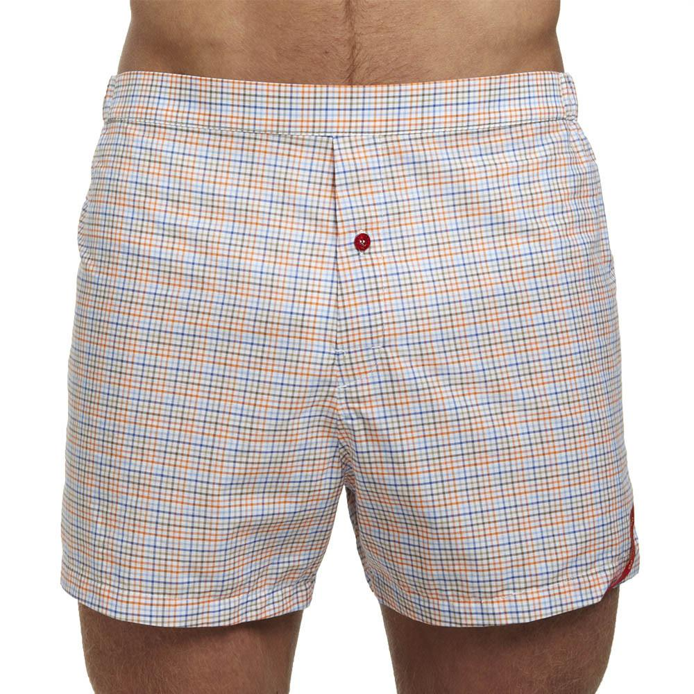 Men's Designer Underwear | Slim-Fit Boxers Blue/Orange Tattersall | Pengallan
