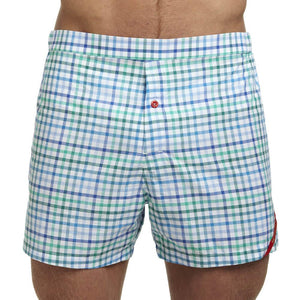 Men's Designer Underwear | Slim-Fit Boxers Blue/Green Tattersall | Pengallan