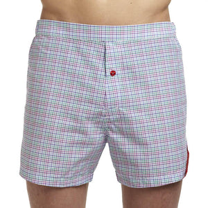Men's Designer Underwear | Slim-Fit Boxers Purple/Green Tattersall | Pengallan