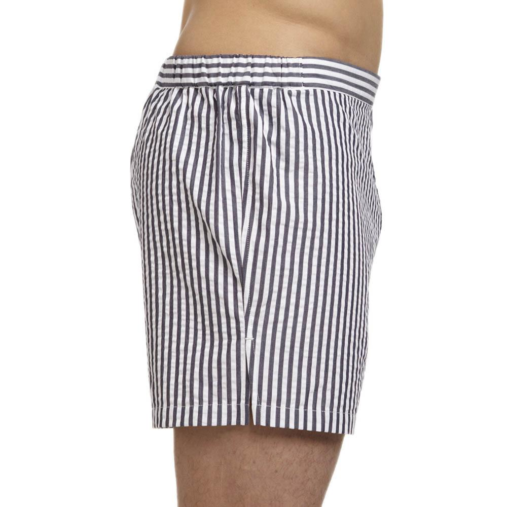 Men's Designer Underwear | Slim-Fit Boxers Grey/White Seersucker | Pengallan