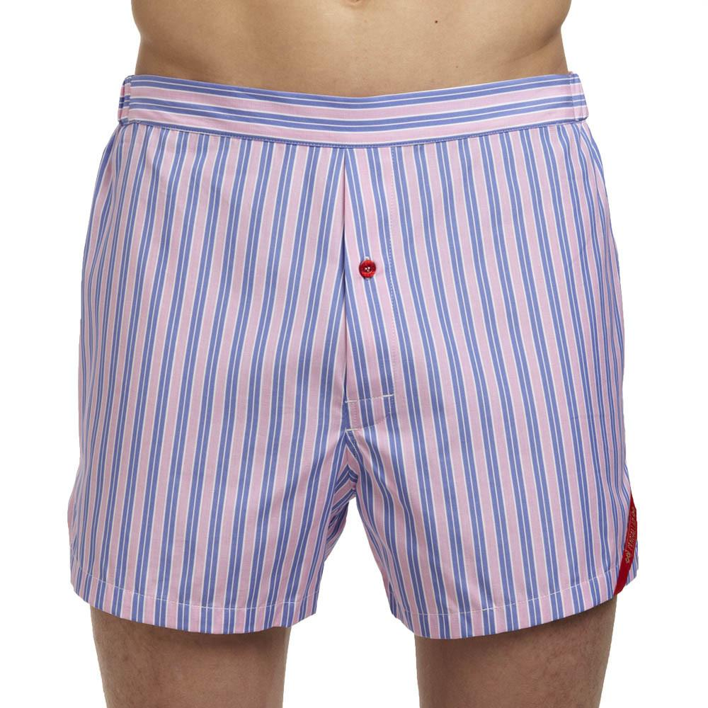 Men's Designer Underwear | Slim-Fit Boxers Pink/Blue Stripe | Pengallan