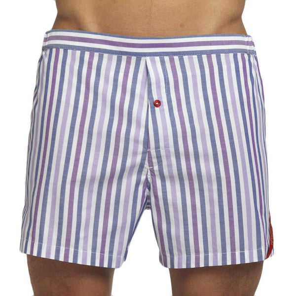 Men's Designer Underwear | Slim-Fit Boxers Purple/Navy Stripe | Pengallan