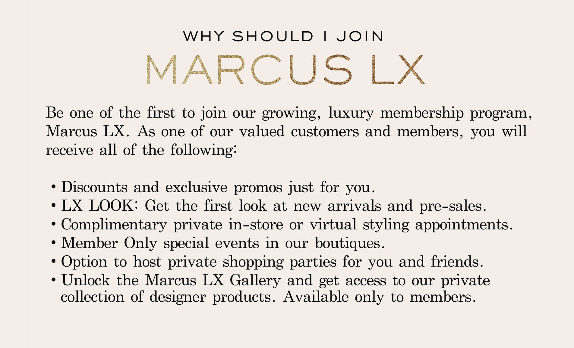 why join Marcus LX